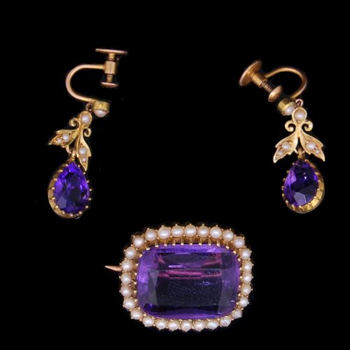 PEARL AND AMETHYST BROOCH AND PAIR OF EARRINGS, the brooch set with an amethyst …