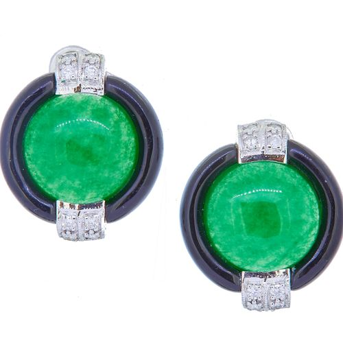 PAIR OF JADE, DIAMOND AND ENAMEL EARRINGS, set to the center with a cabochon cut…