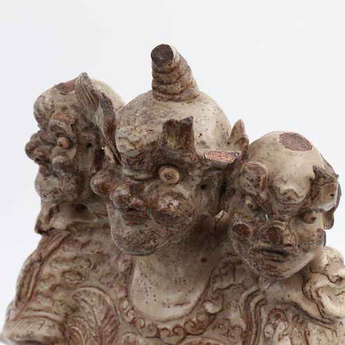 "VIETNAM, XIV XV CENTURY, LE DYNASTY ""Bat trang"" three heads statue, XIV XV centu…"