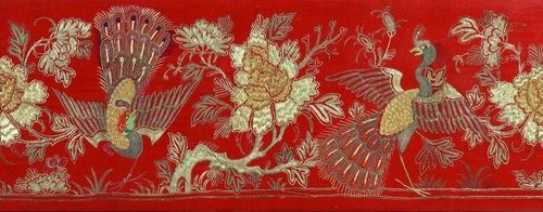VIETNAM, NGUYEN DYNASTY Embroidery painting, Nguyen dynasty 32 x 152 cm Conditio…