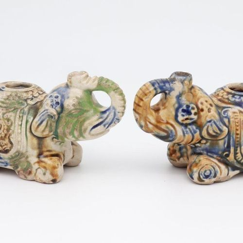 VIETNAM, XIX CENTURY A pair of elephans water pipes, XIX century 3 color glazed …