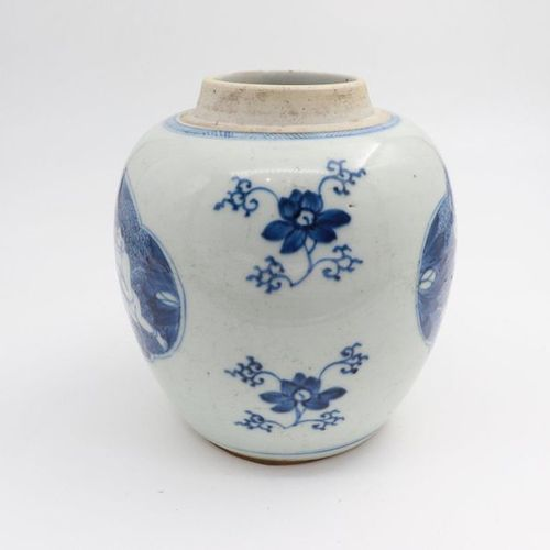 """CHINA, XIX CENTURY A blue and white """"lotus"""" jar, XIX century deftly painted with…"""