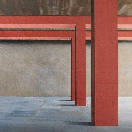 ANGELO TITONEL (1938) Interno con colonne rosee, 1971 Acrylique sur toile  200x2…