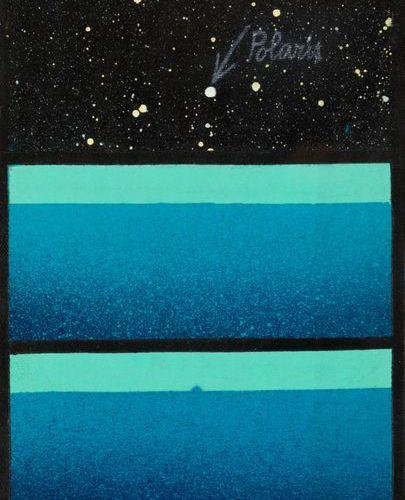 DAVIDE BENATI (1949) Viaggio verso isola, 1973 Acrylique sur toile  30x20 cm  Si…