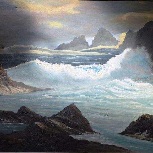 Tableau moderne représentant la mer signée en bas à droite (illisible)