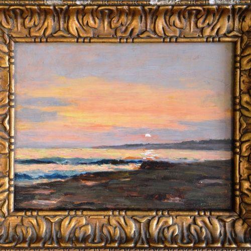 "Édouard CREMIEUX (1856 1944) ""夕阳下的海景""。  油画,右下角有签名,献给朋友穆勒。  26 x 35厘米。"