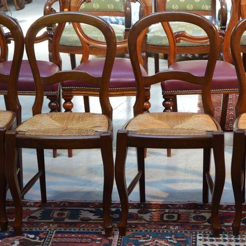 4 chaises paillées à dossier ajouré null