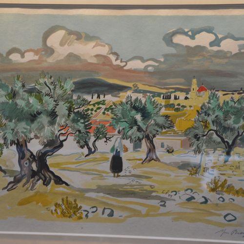 """Yves BRAYER (1907 1990) """"Paysage de Camargues"""".  Lithographie en couleur signée …"""