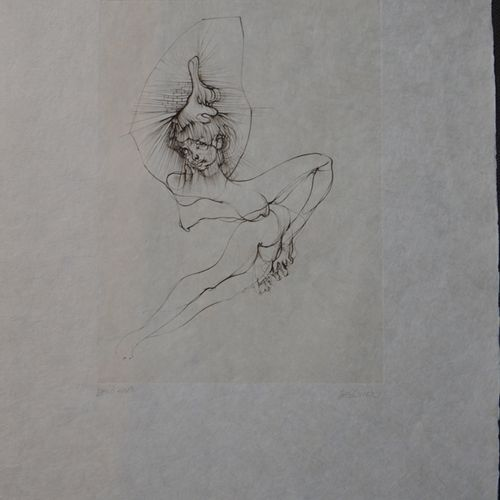 """Hans BELLMER (1902 1975) """"情色裸体""""。  右下角有铅笔签名的蚀刻版画,适合印刷,印在破布纸上。  57 x 38厘米。  (在纸的中下…"""