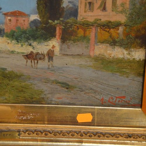 "Georg FISCHHOF (1859 1914) ""活泼的海滨景色""。  布面油画,右下角署名A.L TERNI。  33 x 40厘米。"
