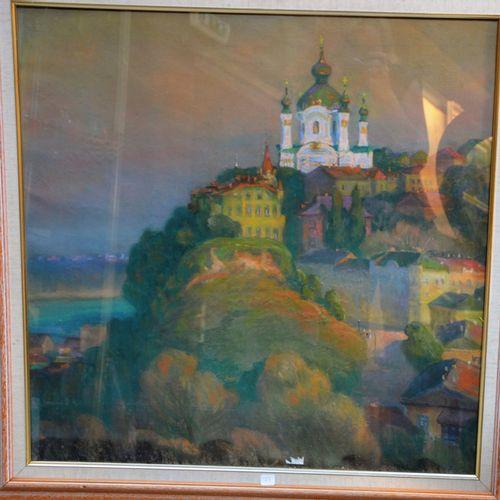 ÉCOLE RUSSE du XXème siècle (Alexander Minka ?) 描绘山丘上的东正教教堂景观的粉彩画,署名为1991年,左下方有日…