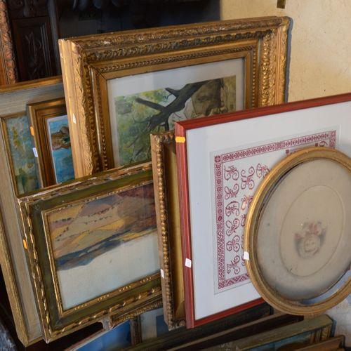 Important lot de pièces encadrées dont 水彩画、绘画、框架等