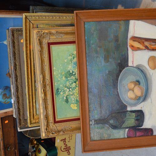 Important lot de pièces encadrées dont 绘画、镜子、印刷品等。