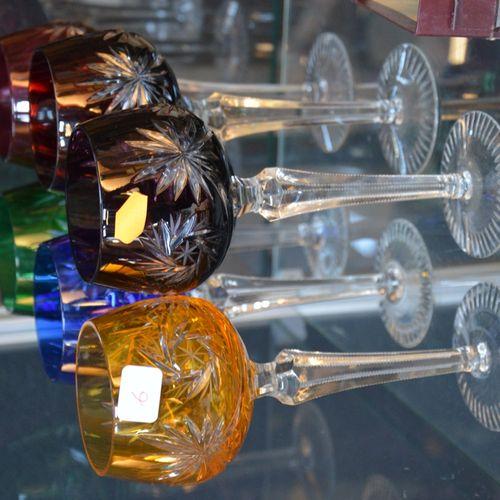 6 Verres à vin en cristal 切割和染色