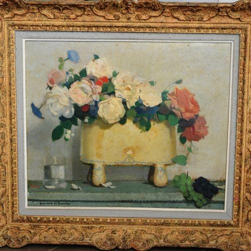 "Lucien Victor GUIRAND de SCÉVOLA (1871 1950) ""Poterie jaune et roses"".  Huile su…"