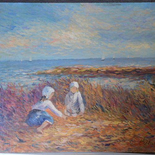 """Paul FLAUBERT (1928 1994) """"孩子们在海滩上玩耍""""。  右下角有签名的板面油画。  33 x 40厘米。"""