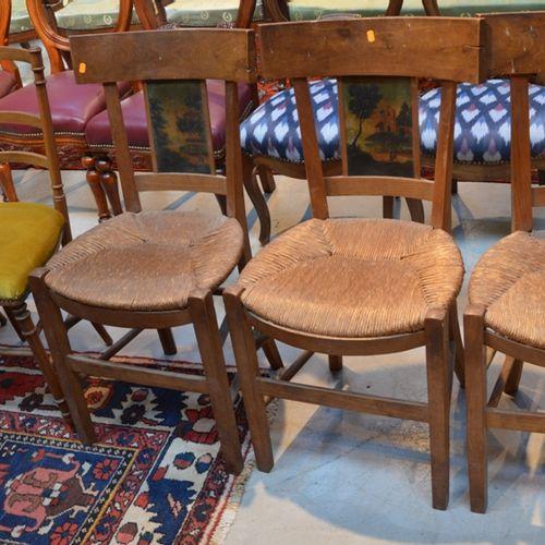 Lot de chaises comprenant 3 chaises paillées à dossier bandeau, ajouré et peint,…