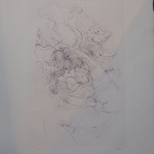 "Hans BELLMER (1902 1975) ""情色裸体""。  蚀刻版画右下方有铅笔签名,编号74/100。  76 x 57厘米。"