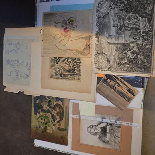 Carton à dessin comprenant des dessins, aquarelles, 包括Rouveyre, Hélène des Ylour…