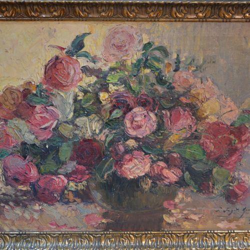 "ECOLE FRANCAISE ""一束花""。  布面油画,右下角署名Fanette GIRAUD(?  65 x 92厘米。"