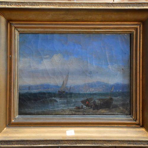 """François Pierre BARRY (1813 1905) """"Marins près d'un épave sur la plage"""".  Huile …"""