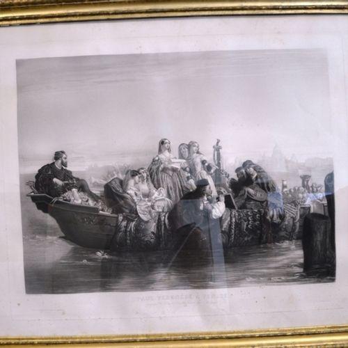 """P. Allais d'après Pignerolle """"Paul Véronèse à Venise"""".  Gravure en noire.  82 x …"""
