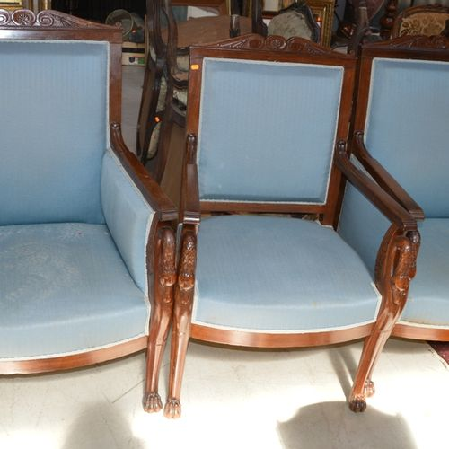 Mobiliers de salon en bois naturel comprenant 2 canapés, 2 fauteuils et 2 bergèr…