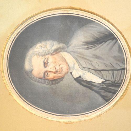 """Angélique BRICEAU (XVIIIème siècle) """"Portrait d'homme"""".  Gravure en couleurs en …"""