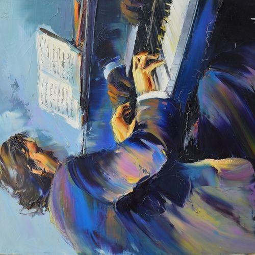 """Christian JEQUEL (né en 1938) """"Le pianiste"""".  Huile sur toile signée en bas à dr…"""