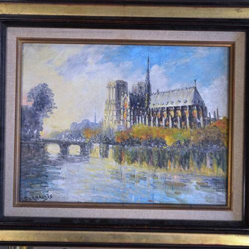 """Gena PÉCHAUBES (né en 1923) """"Notre dame de Paris"""".  Huile sur toile signée en ba…"""
