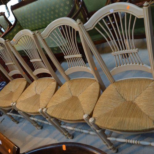 4 chaise paillées en bois blanc 饰以麦穗