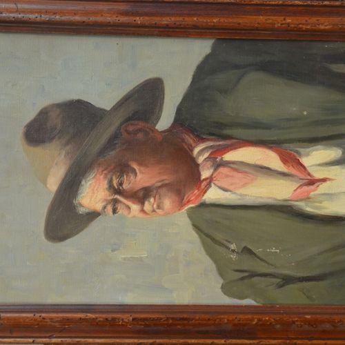 "Henri Georges BRÉARD (1873 c.1939) ""戴帽子的人""。  布面油画,右下角有签名。  46 x 33厘米。  (油漆跳动)"