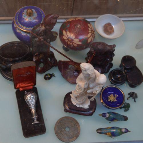 Lot de souvenirs de voyage dont sujet chinois, 景泰蓝珐琅彩,杯具....