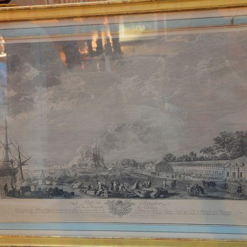 2 gravures en noir représentant le Port de Rochefort et un port en Languedoc  56…