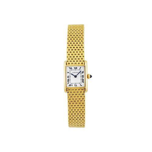 "CARTIER ""Tank Louis"" Fine, thin and elegant, rectangular, 18K yellow gold wristw…"