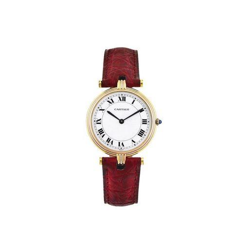 "CARTIER ""Ronde"" 3 Gold Fine, 18K yellow, pink and white gold quartz wristwatch. …"