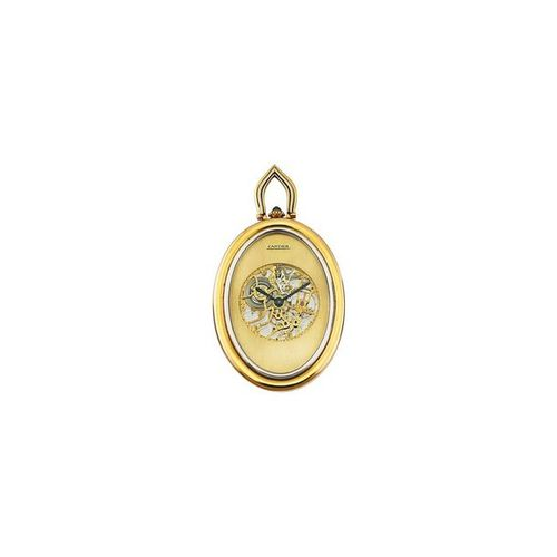"CARTIER ""Baignoire"" Fine, oval shaped, yellow and white gold pendant watch with …"