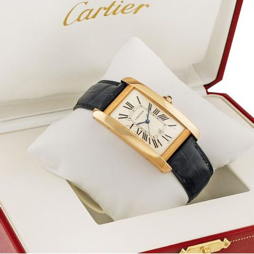 "CARTIER ""Tank Americaine"" Ref. 2505 Fine, self winding, water resistant, 18K pin…"