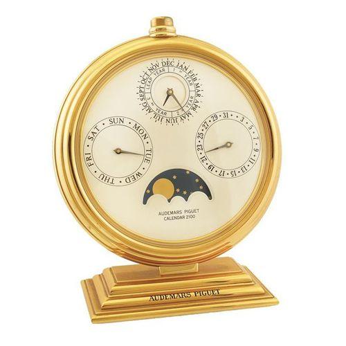 """AUDEMARS PIGUET """"Calendar 2100"""" Very fine and unusual, gilt brass desk perpetual…"""
