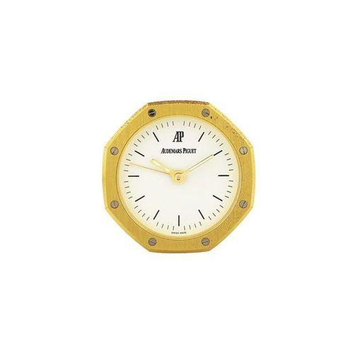 "AUDEMARS PIGUET ""Royal Oak"" Small, gilt brass, quartz desk clock with alarm. Mad…"