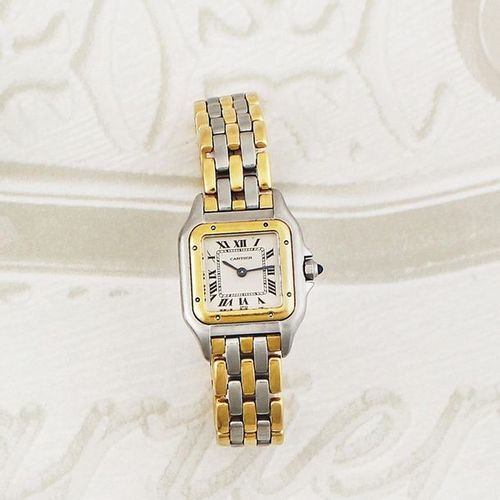 """CARTIER """"Panthere"""" 3 Rangs Fine, stainless steel and gold, quartz lady's wristwa…"""