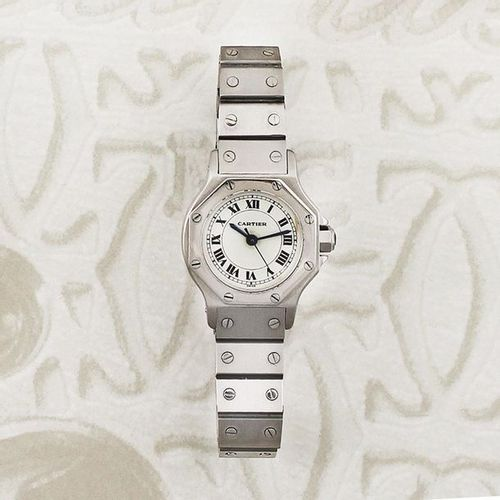 """CARTIER """"Octagon"""" Automatic Fine, octagonal, center seconds, self winding, stain…"""