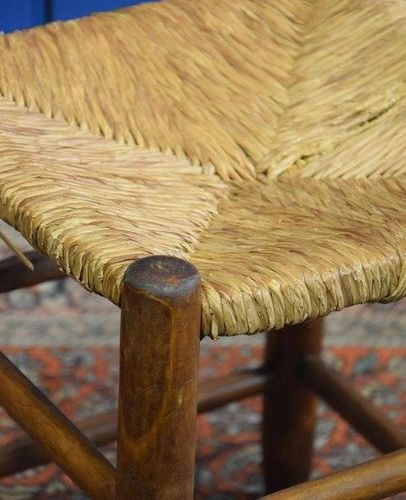 "CHARLOTTE PERRIAND pair of pine and straw stools model ""S17"" for bows, years 50 …"