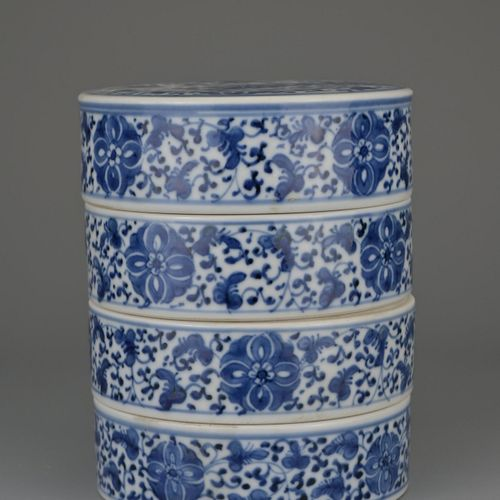 CHINESE BLUE AND WHITE PORCELAIN TIERED SWEET BOX, QIANLONG PERIOD, 18th CENTURY…