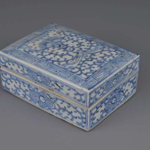 CHINESE BLUE AND WHITE PORCELAIN INK BOX AND COVER, JIAQING PERIOD, EARLY 19th C…