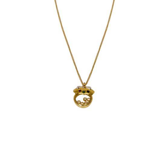 An 18K gold pendant with a 14K gold chain. Gross weight approx. 5.2 cm. Dimensio…