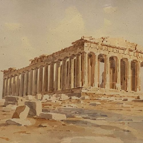 A watercolor on paper signed S. Prosalentis in Greek, Parthenon, Athens, Greece.…