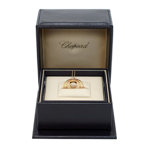 A Lady's Chopard 18K Rose Gold , Happy Diamonds pendant. 5 Diamonds = 0.24 CT FC…