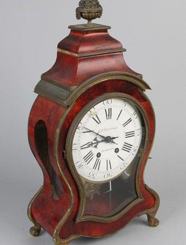 French tortoise mantel clock, 1880 19th century French turtle glued cloak clock.…