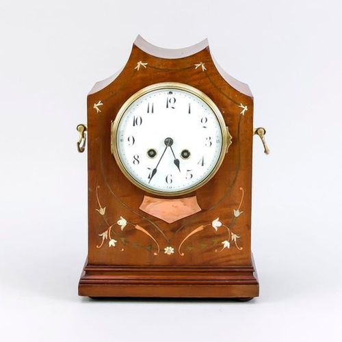 French table clock, 1900 Ancienne horloge de table française en acajou avec incr…